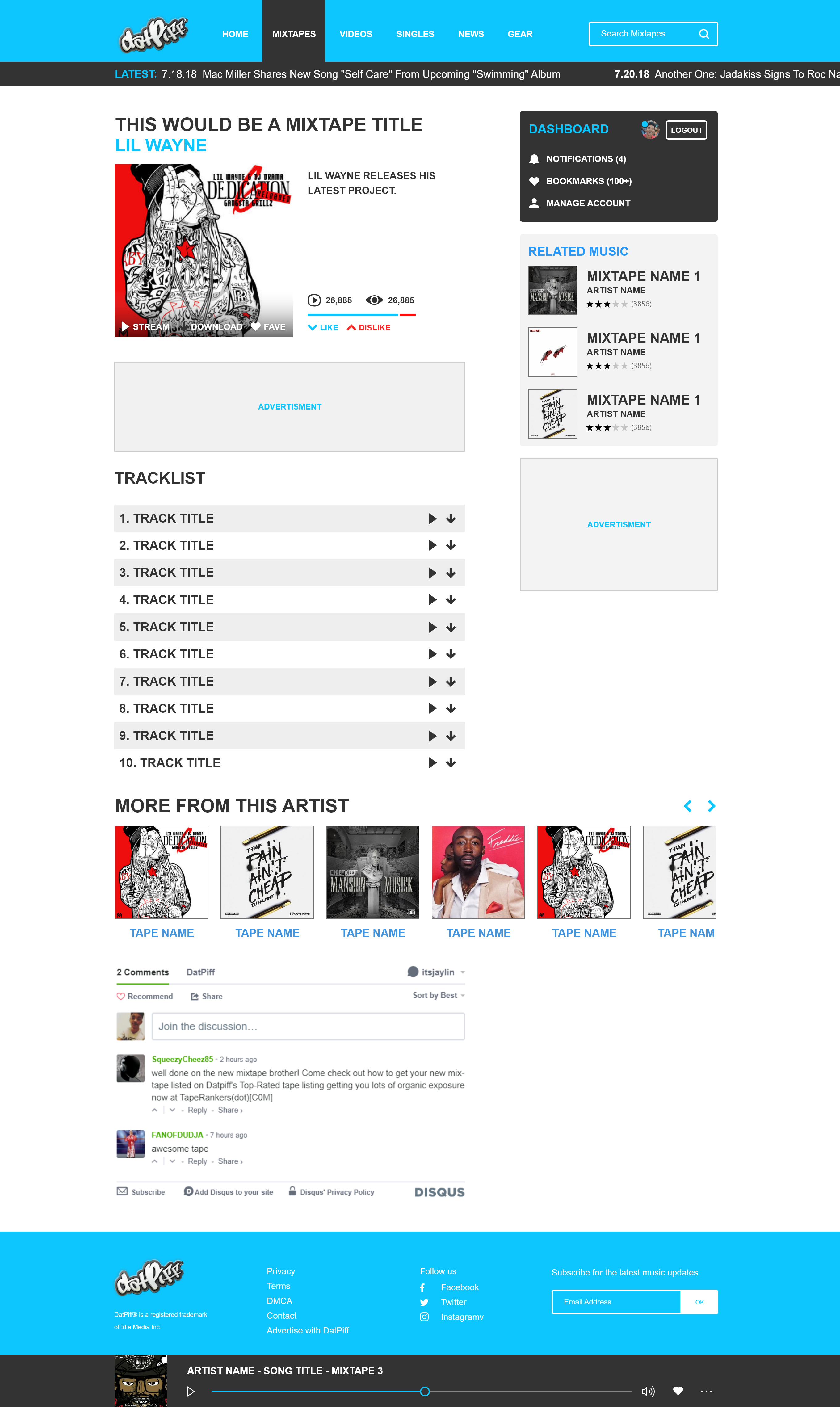 DatPiff Mixtapes Redesign Concept (2014–2018) - JAY OROS CO