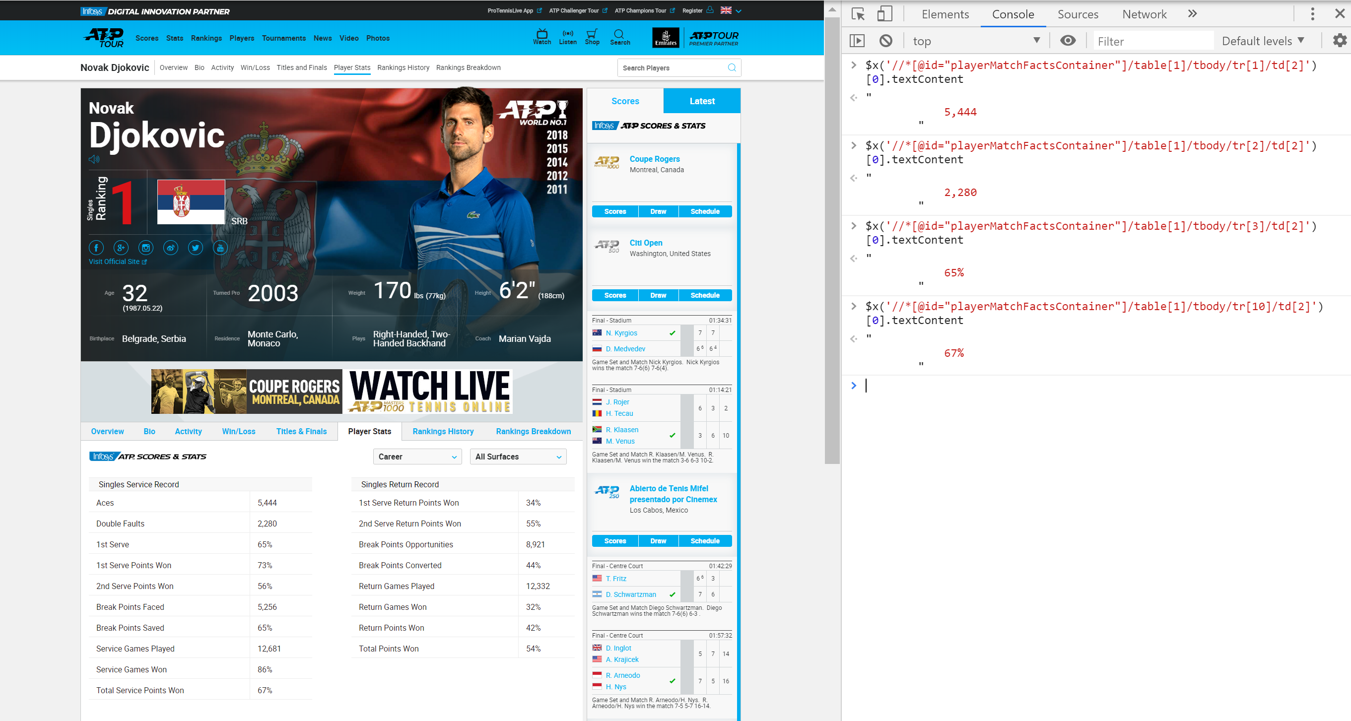 The King of Serving: Tennis Web Scraping with Selenium