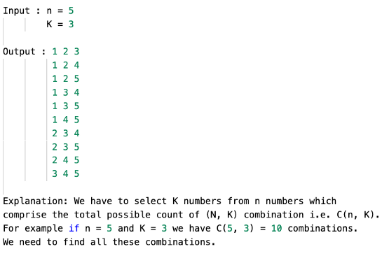 combinations of K numbers from 1 to n example 1