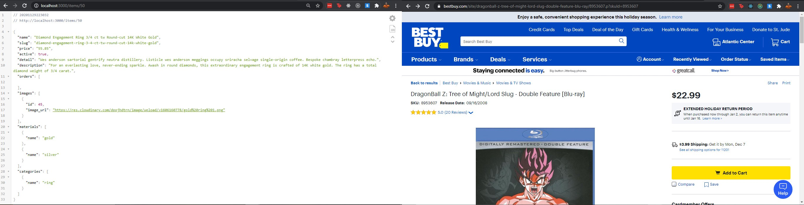 Side by side picture of our Rails app with generic ID in URL vs A best buy page with the URL slug in it