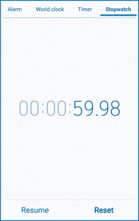 Image of phone stopwatch displaying 59.98 seconds.
