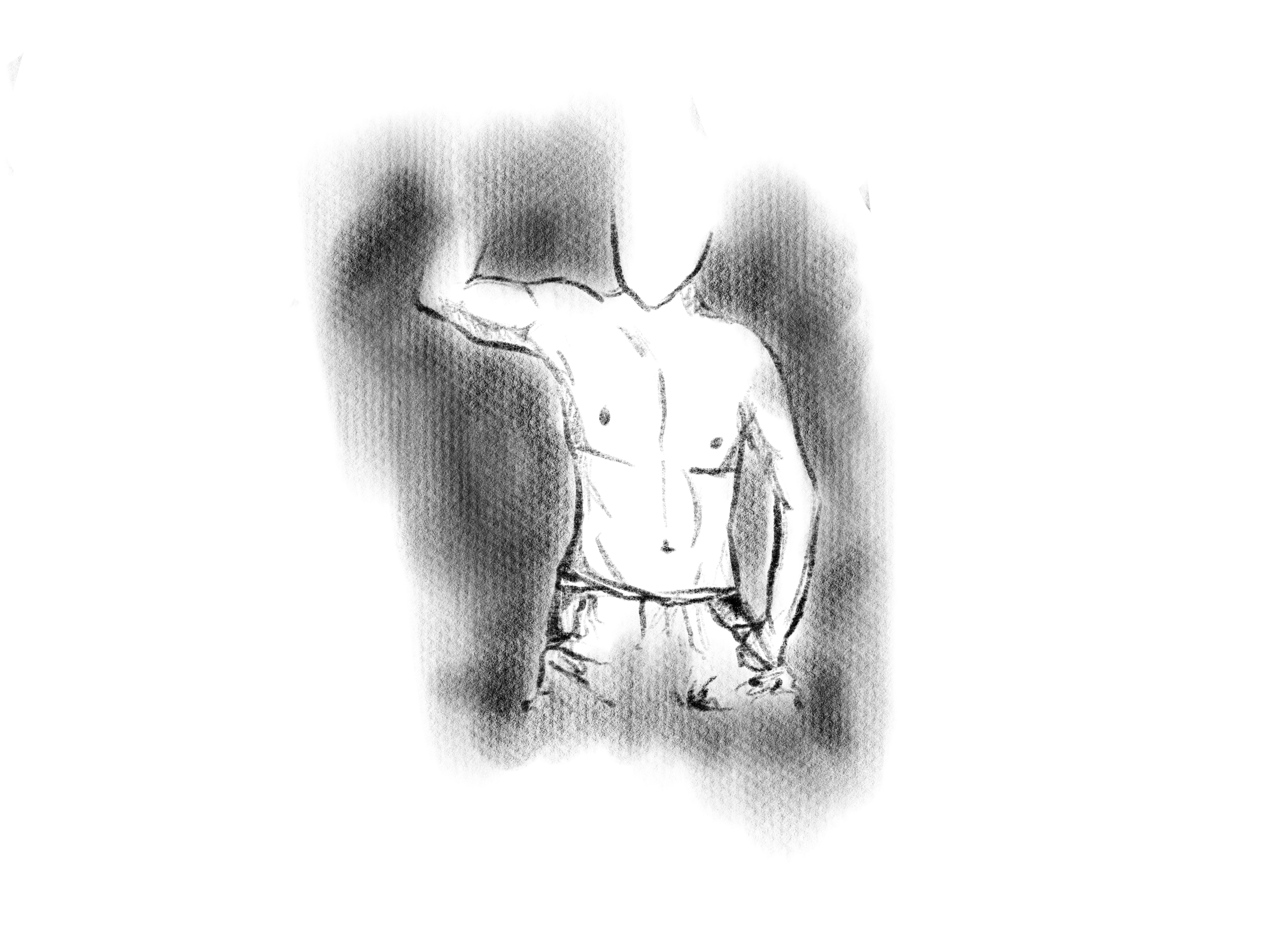 Black and white illustration of a man's chest
