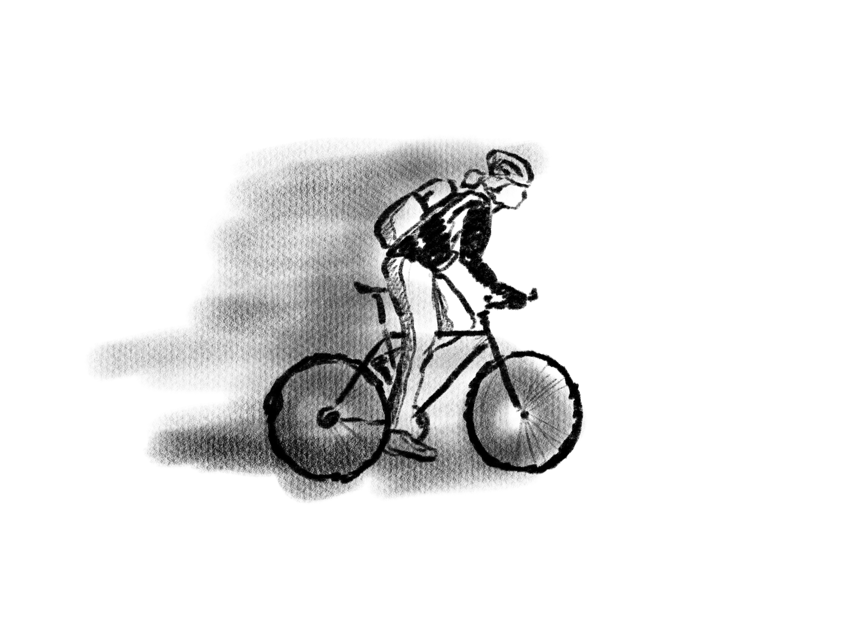 Black and white illustration of a person riding a bike