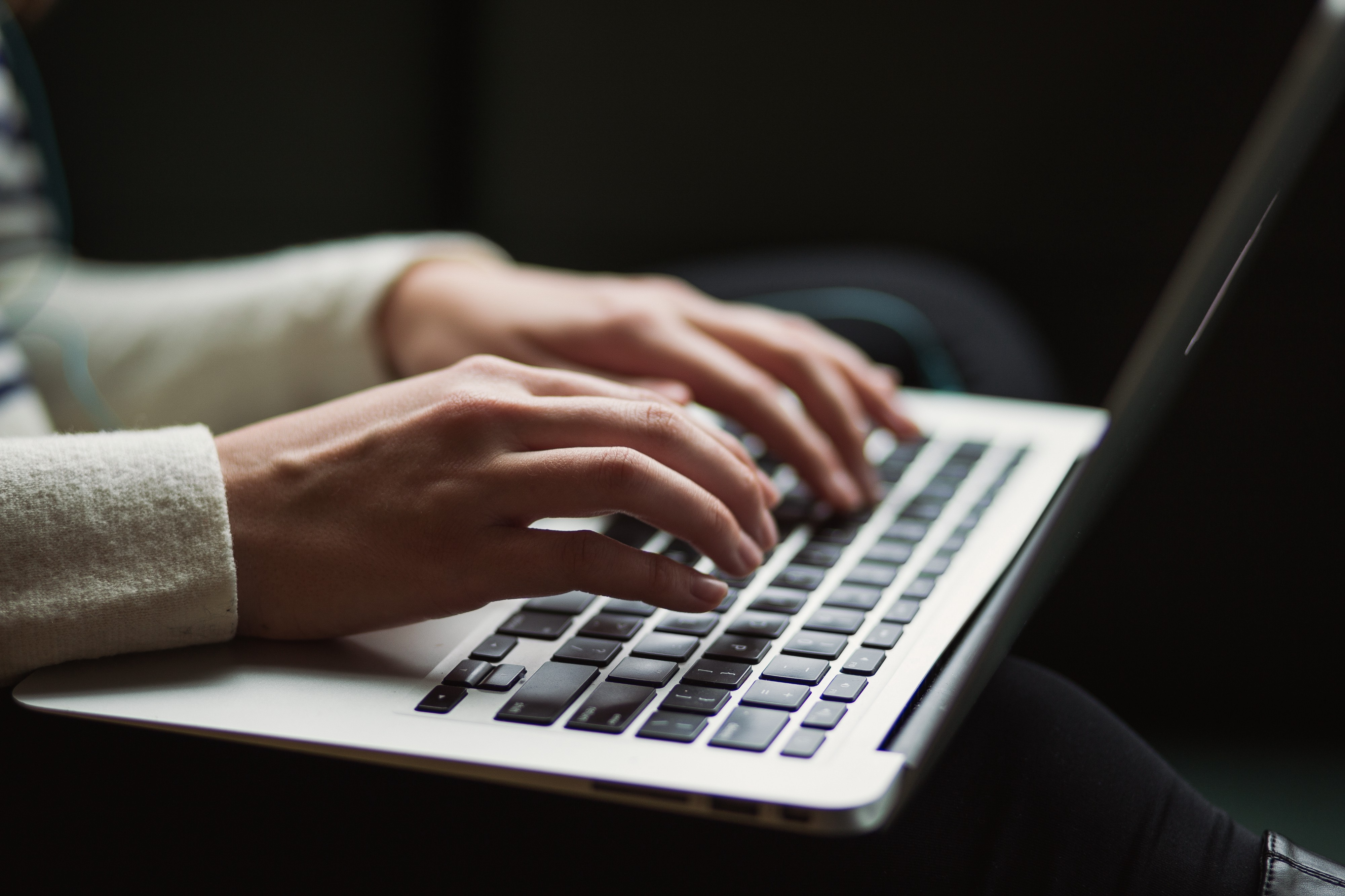 Content writer typing up an article