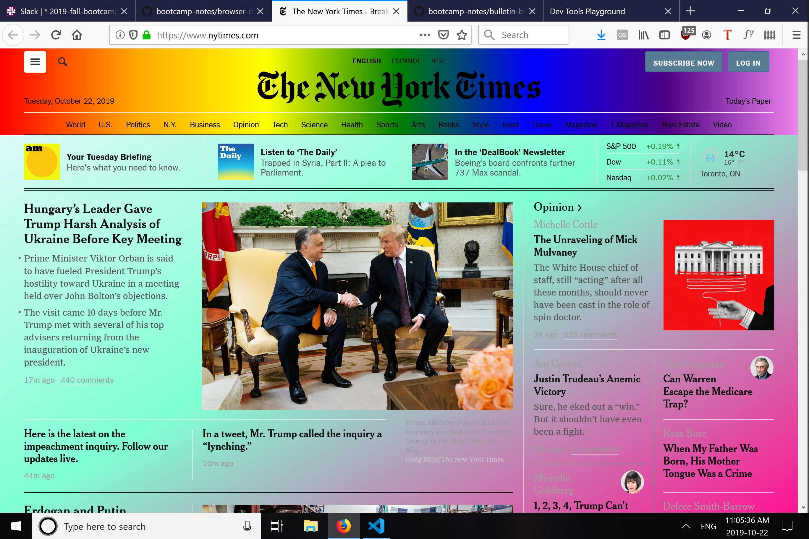 A screenshot of the New York Times website, edited so that it has a rainbow gradient background.