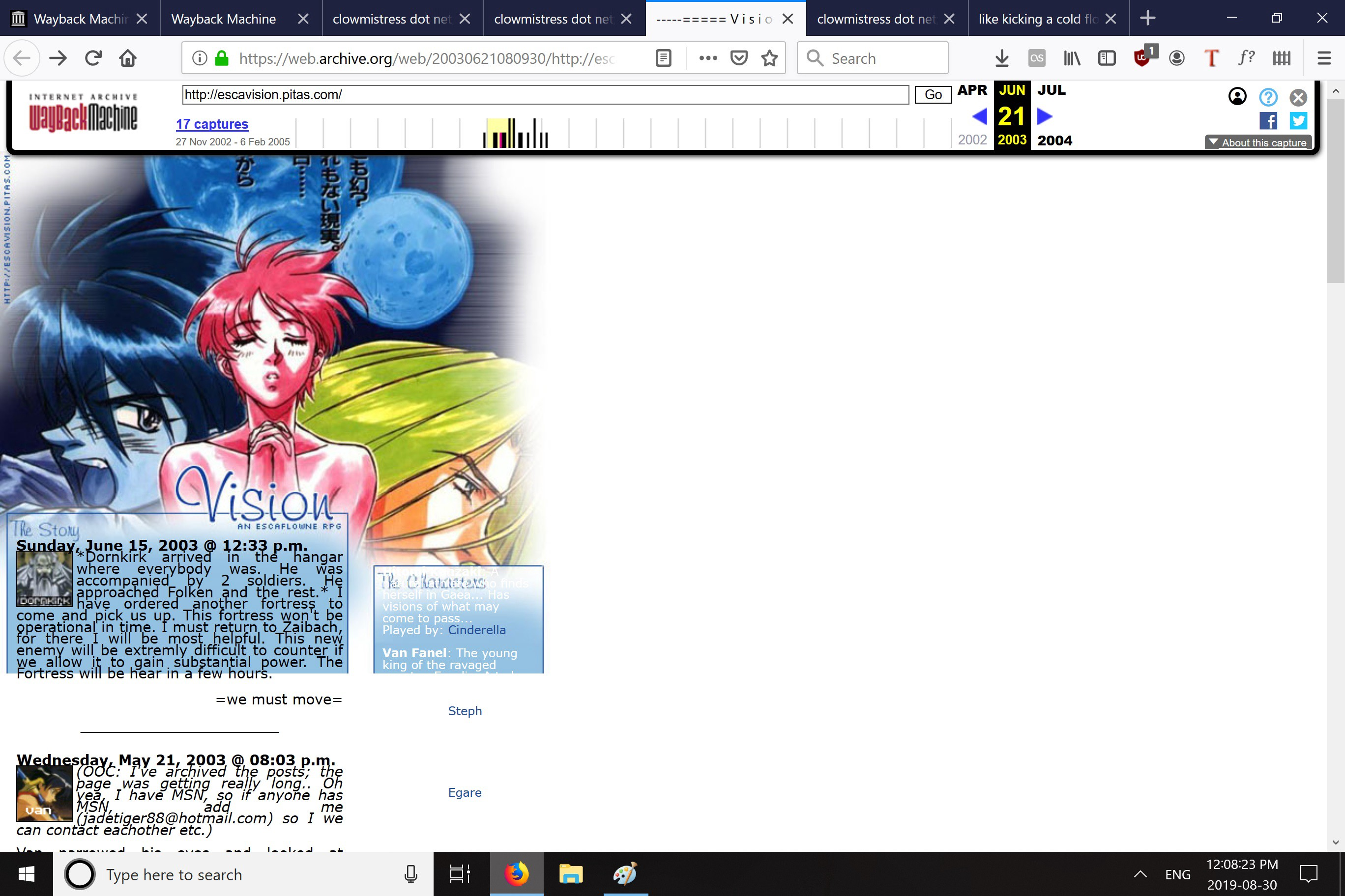 A screenshot of an anime blog site from 2002.