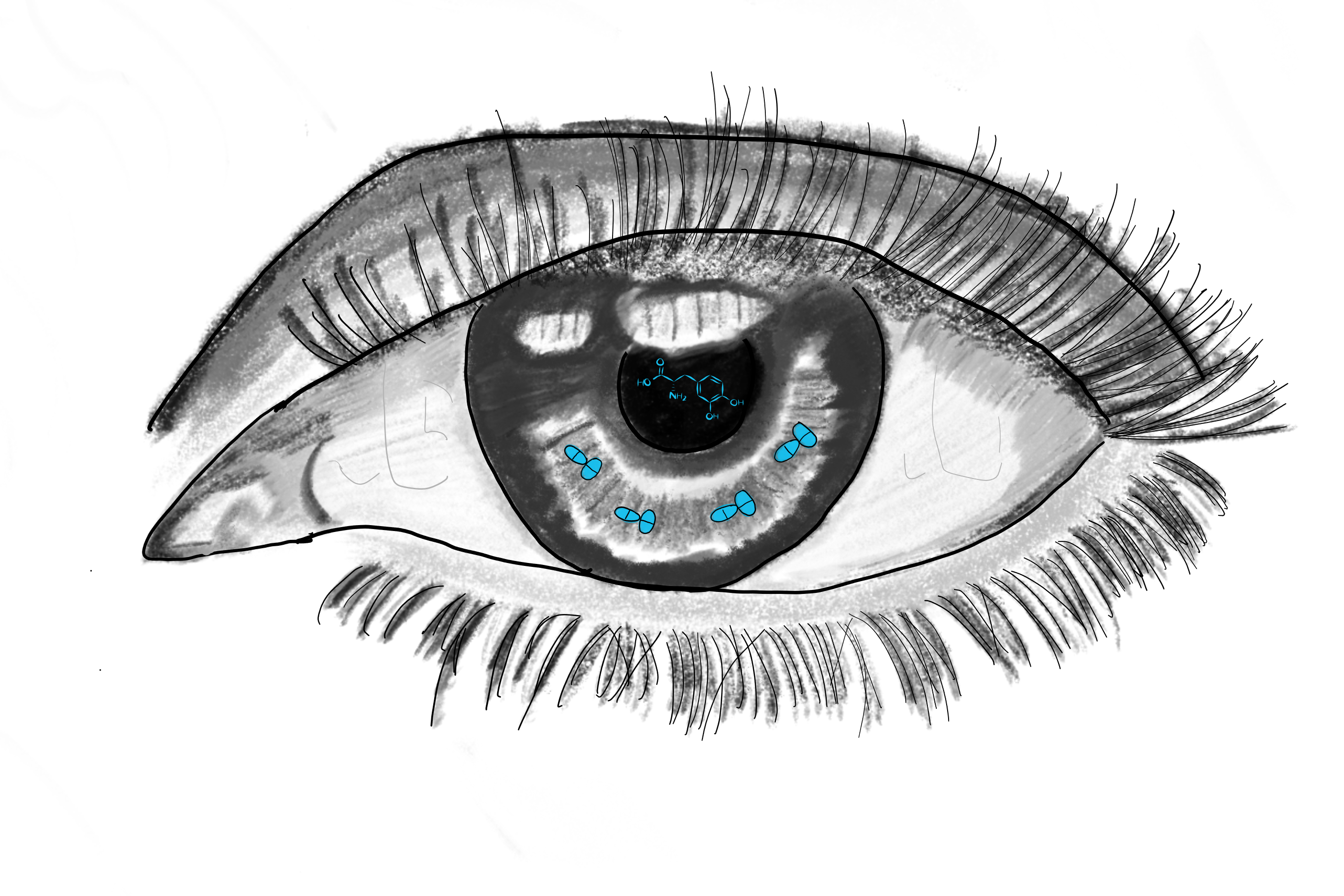 Black-and-white ketch of an eye with long lashes; tiny blue pills on the iris and a drug molecule on the pupil are the only source of color.