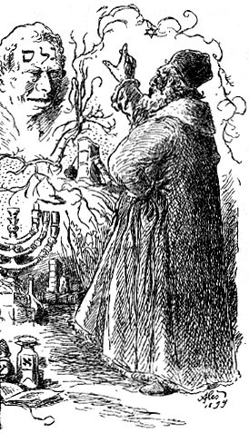 A black-and-white engraving showing the Rabbi Loew with his hand up in an incantatory gesture, bringing the golem to life.