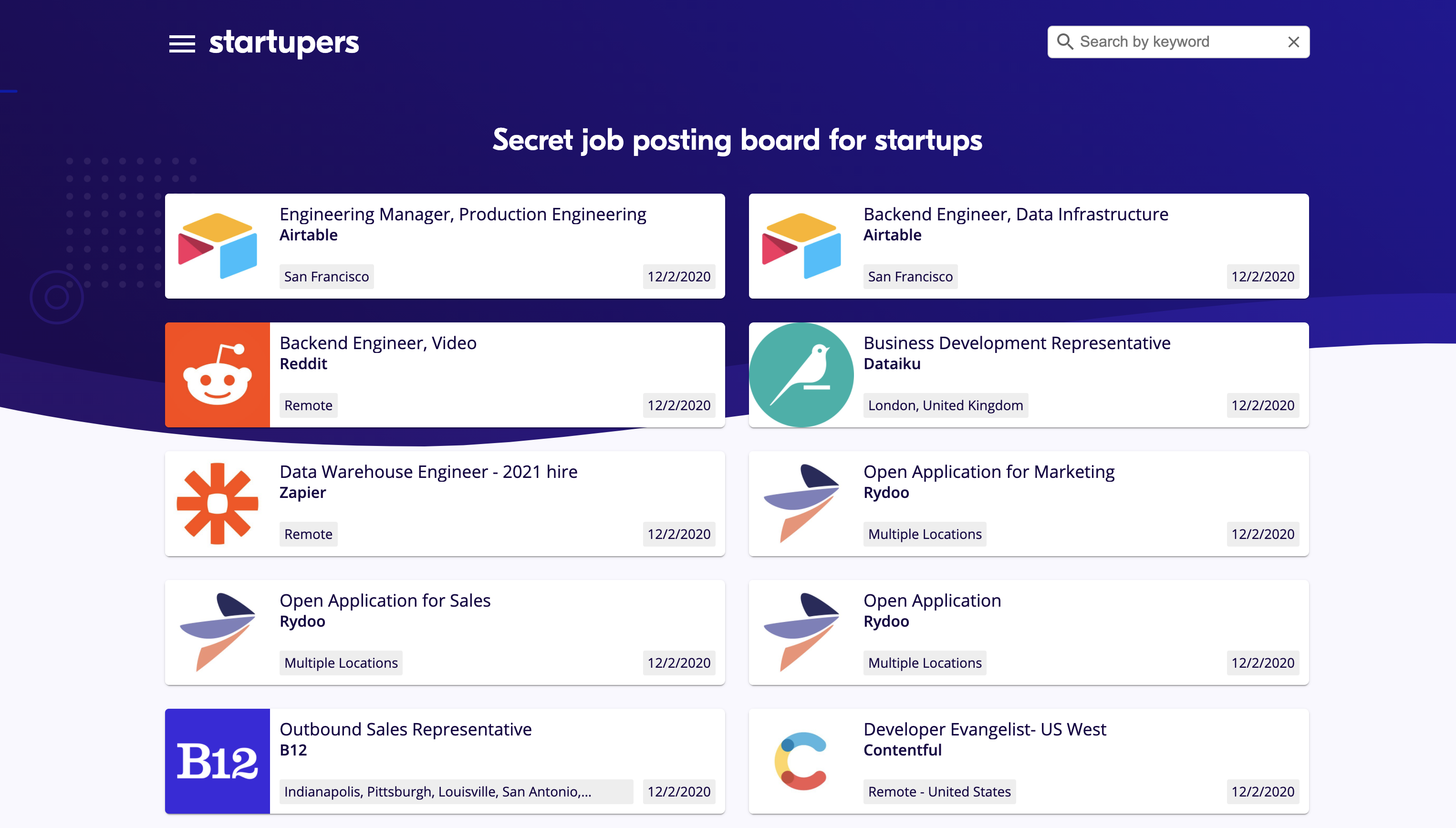 Startupers homepage