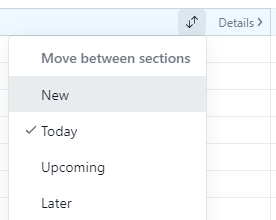 Tasks list: Move task(s) between sections