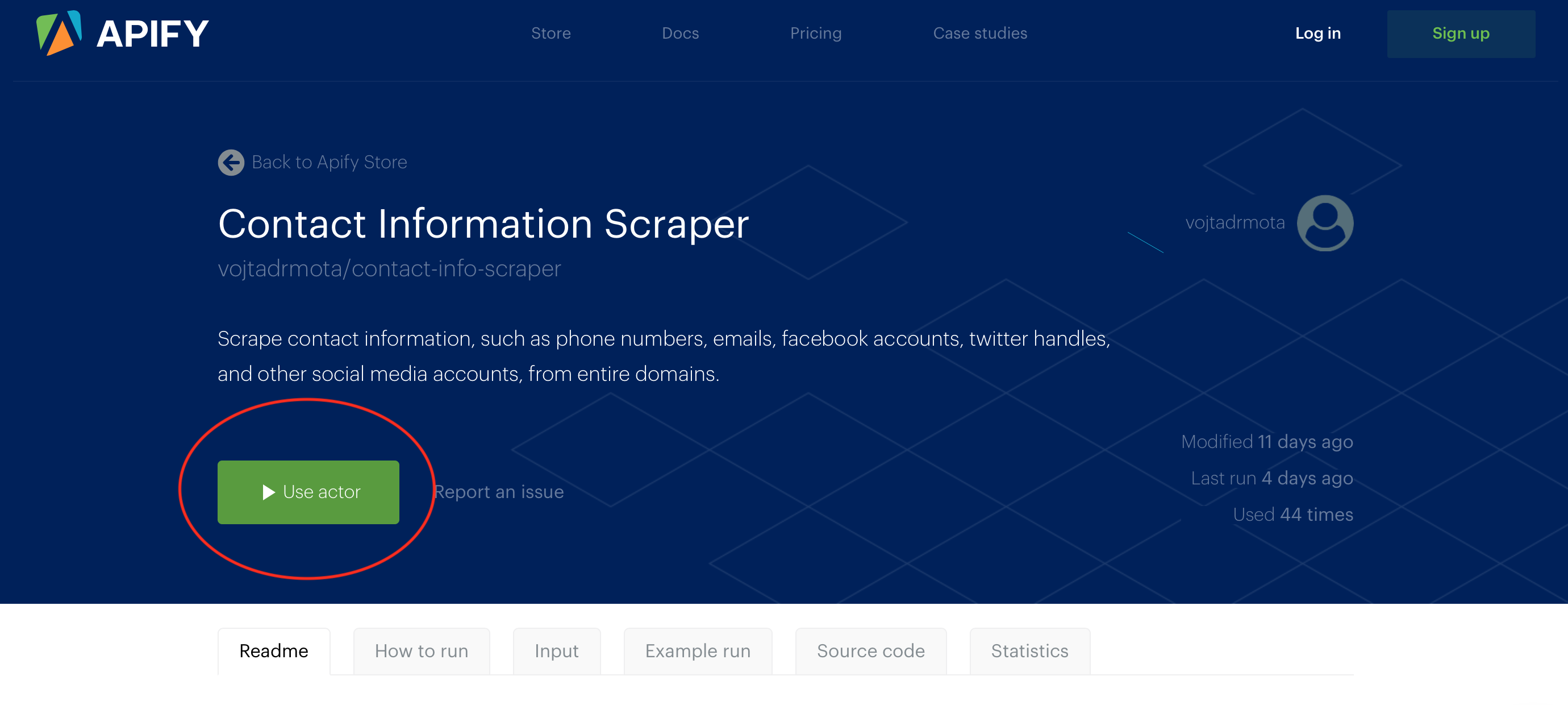 Extract emails, phone numbers and social profiles from websites