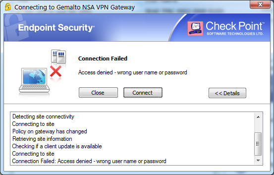 checkpoint vpn-1 securemote connection