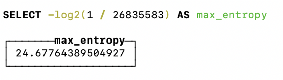 Theoretical maximum entropy query for Bitcoin