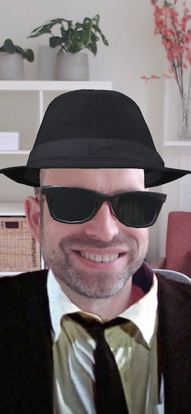 Marko wearing a virtual Blues Brothers outfit