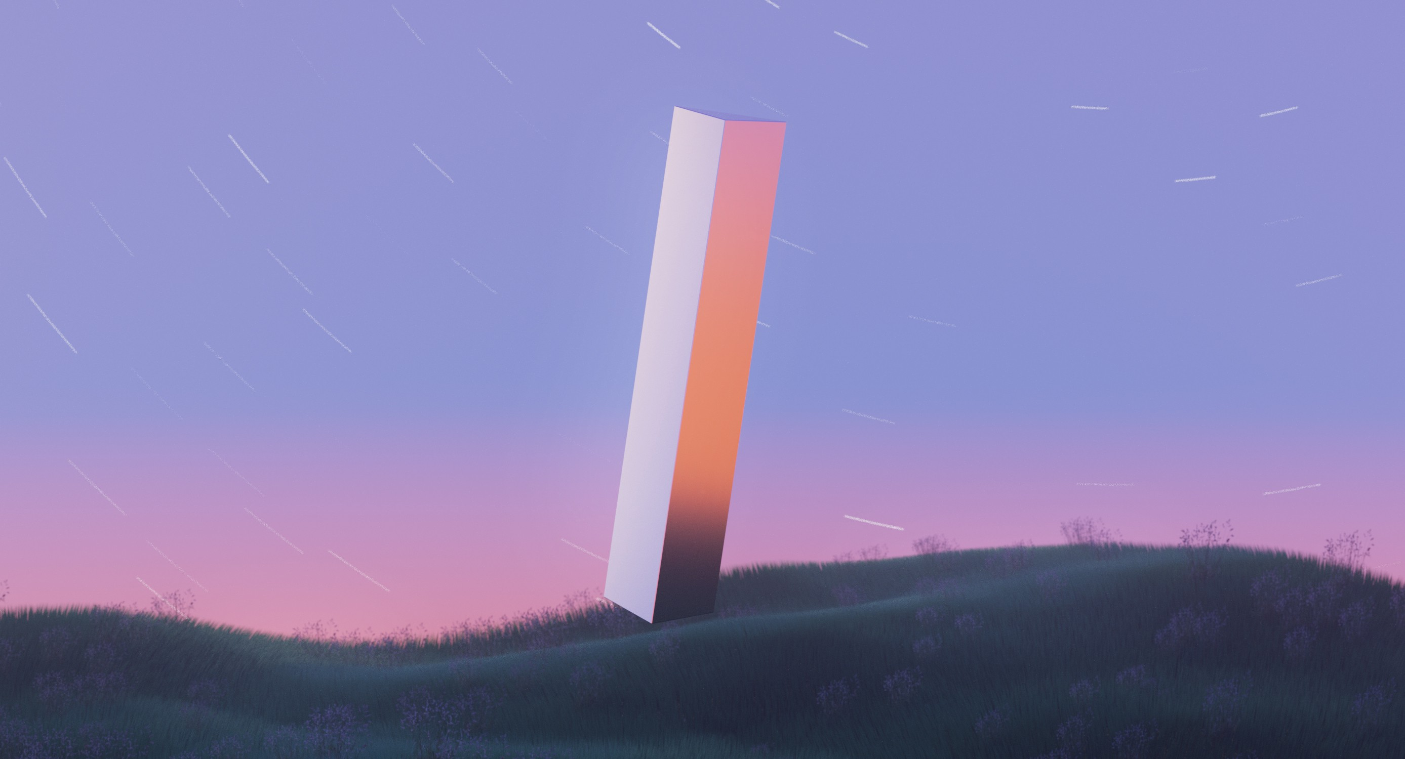 A 3d rendering of a monolith floating above a grassy field.