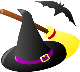 A black pointy hat decorated with a purple ribbon and a buckle. There is a broom and a bat in the background.