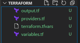 Creating the first files in terraform: output.tf, providers.tf, terraform.tfvars and variables.tf