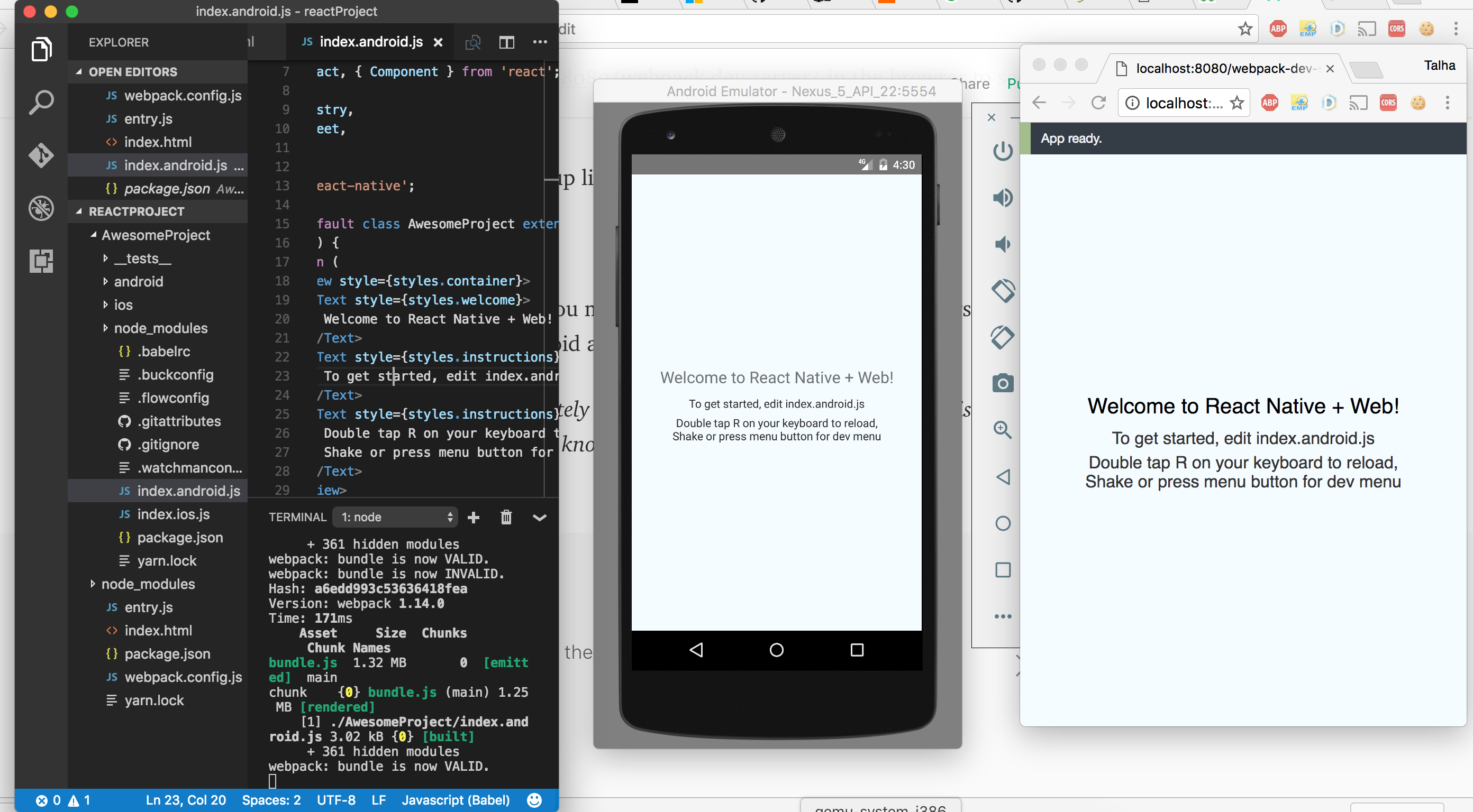 React Native Web setup for android/iOS and web with live