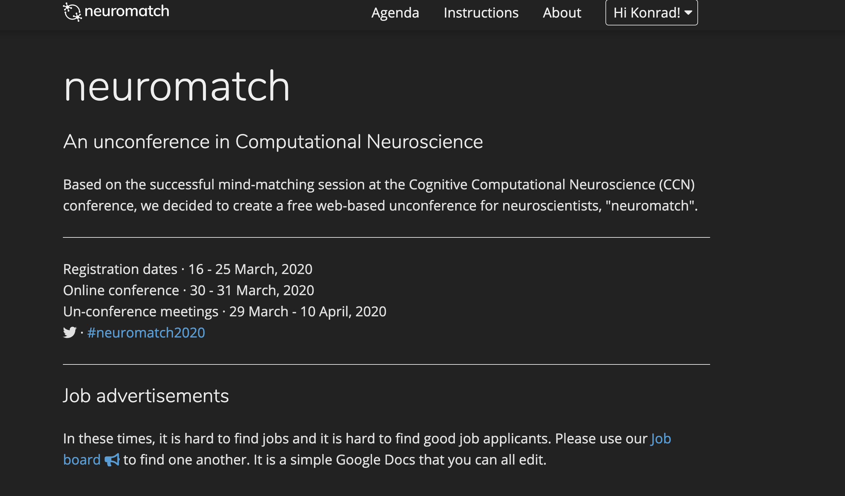 The neuromatch homepage
