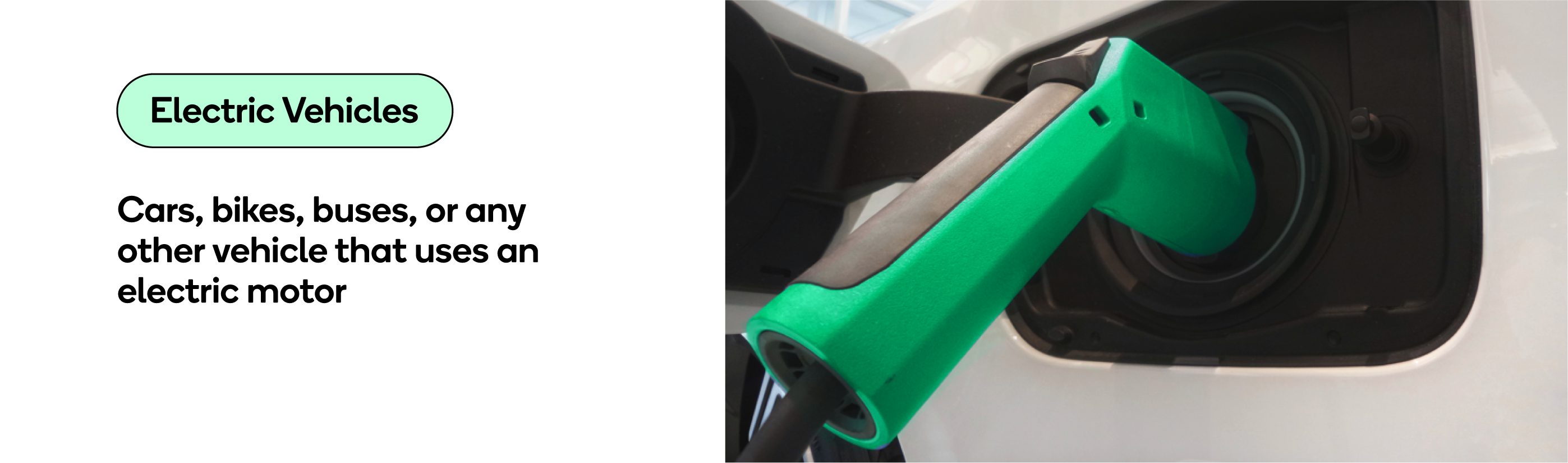 Electric vehicles include cars, buses, bikes or any other vehicle that uses an electric motor.