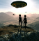 Image of UFOs and aliens.