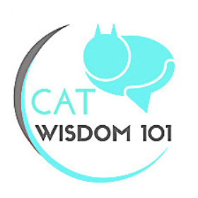 Logo: A very simplified blue silhouette of a cat above text: Cat Wisdom 101.