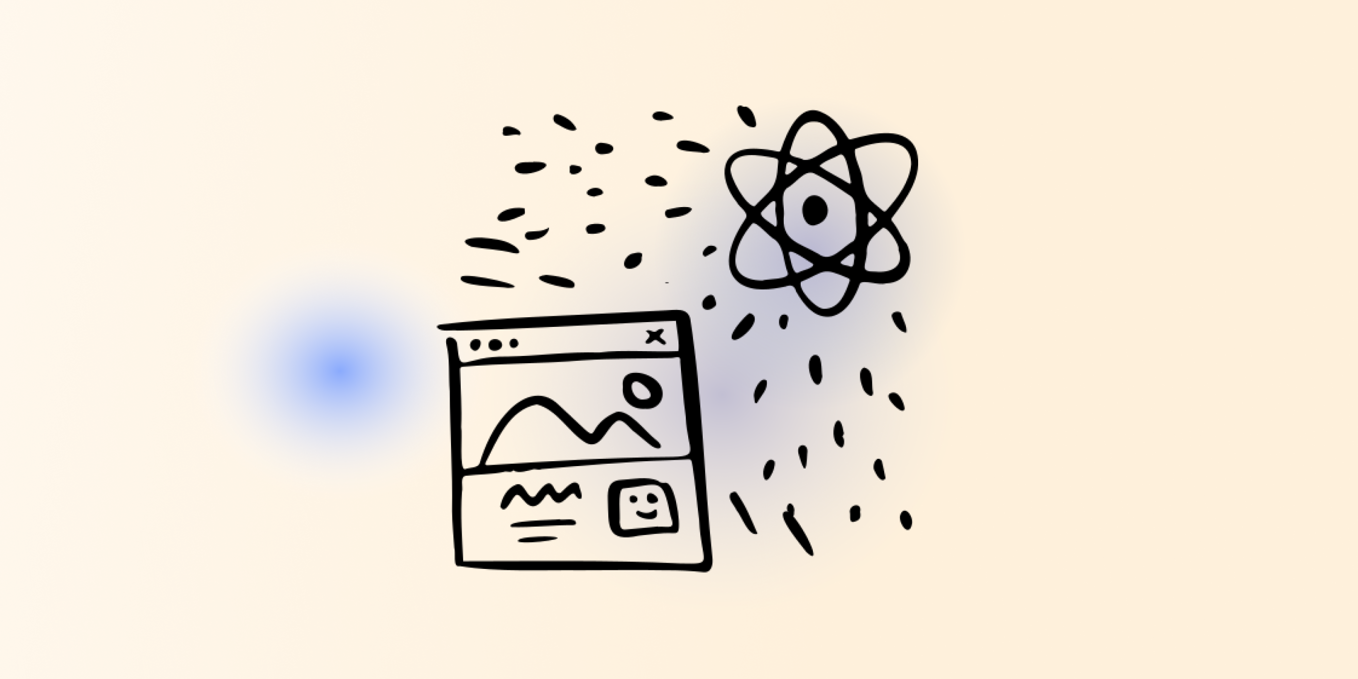 Website wireframe and picture of an atom