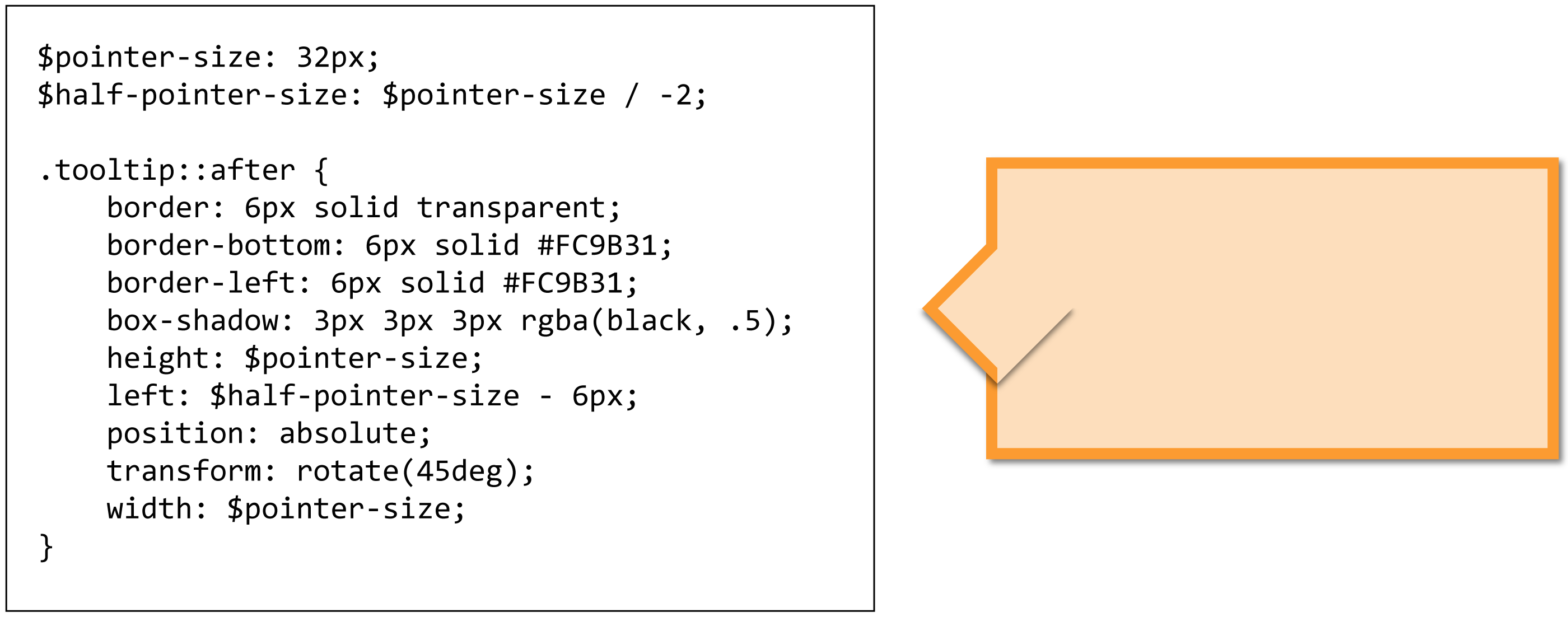 A graphic of a tooltip with its CSS code demonstrating how a shadow on the pointer appears undesirably on the tooltip