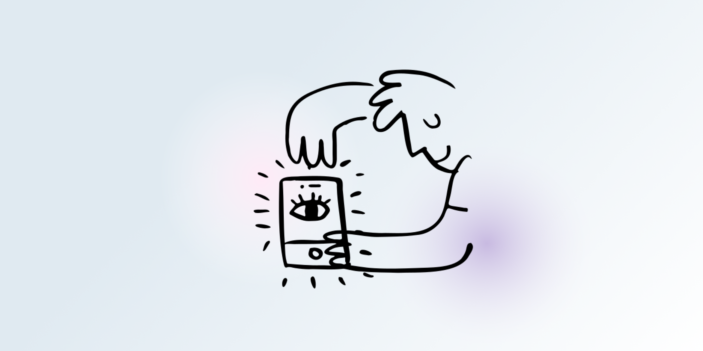 Line drawing of man using iphone