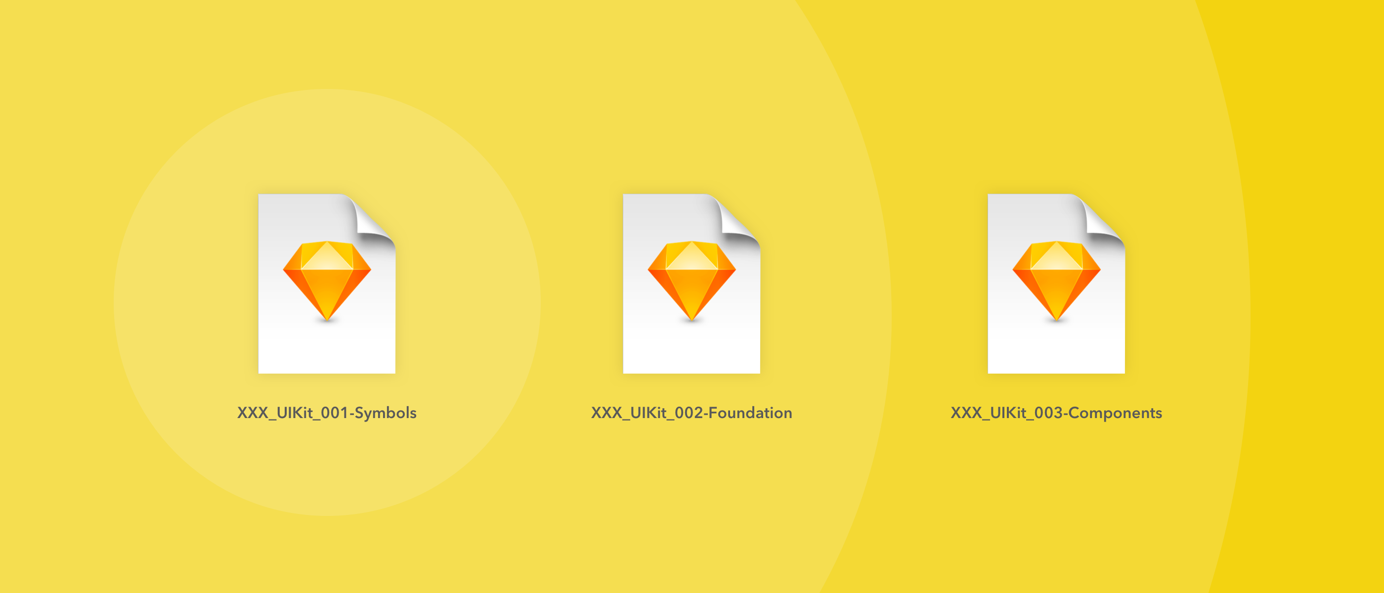 Our Sketch file organization starting with Symbols, and going to Foundation and Components.