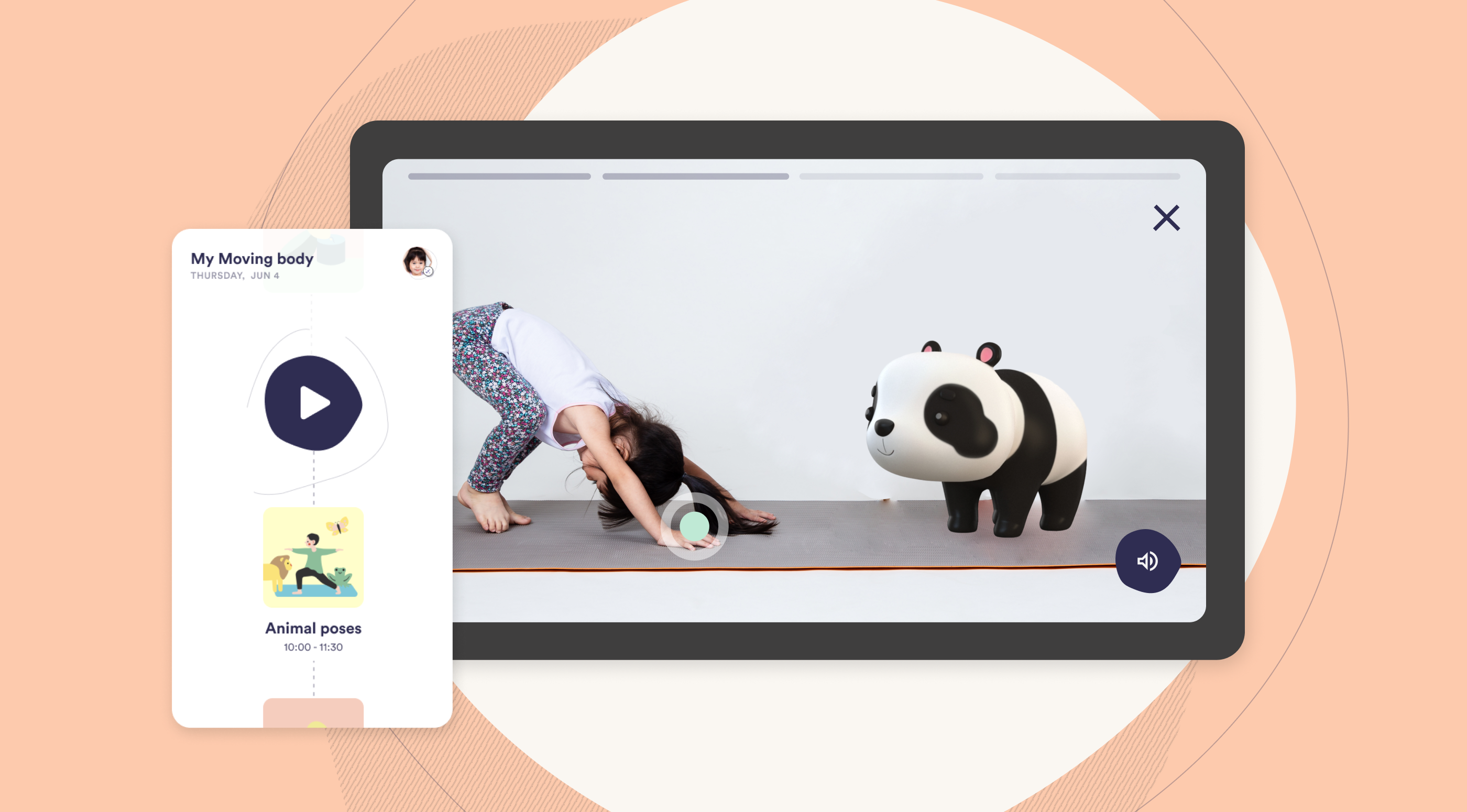 Little girl doing yoga with a virtual panda as part of a digital platform for children's learning and play activity