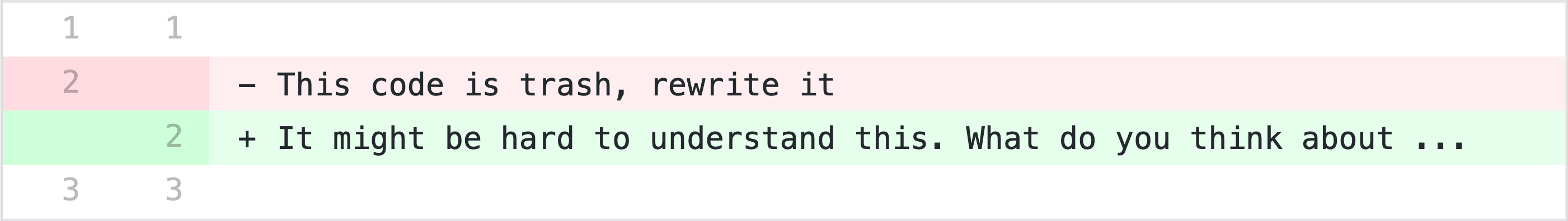 Diff on github suggesting more polite text