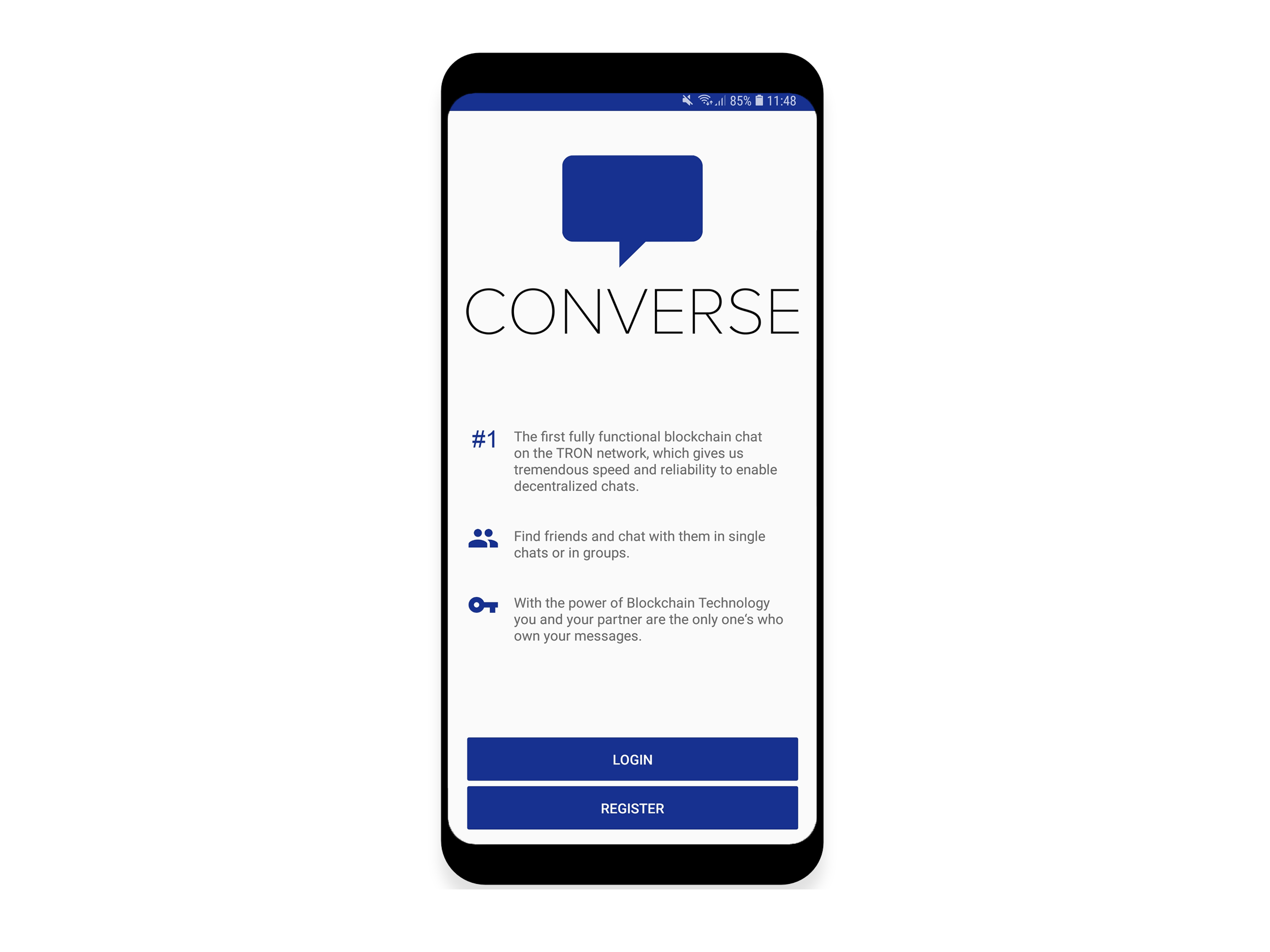 Converse - The first decentralized mobile Chat App by Tron