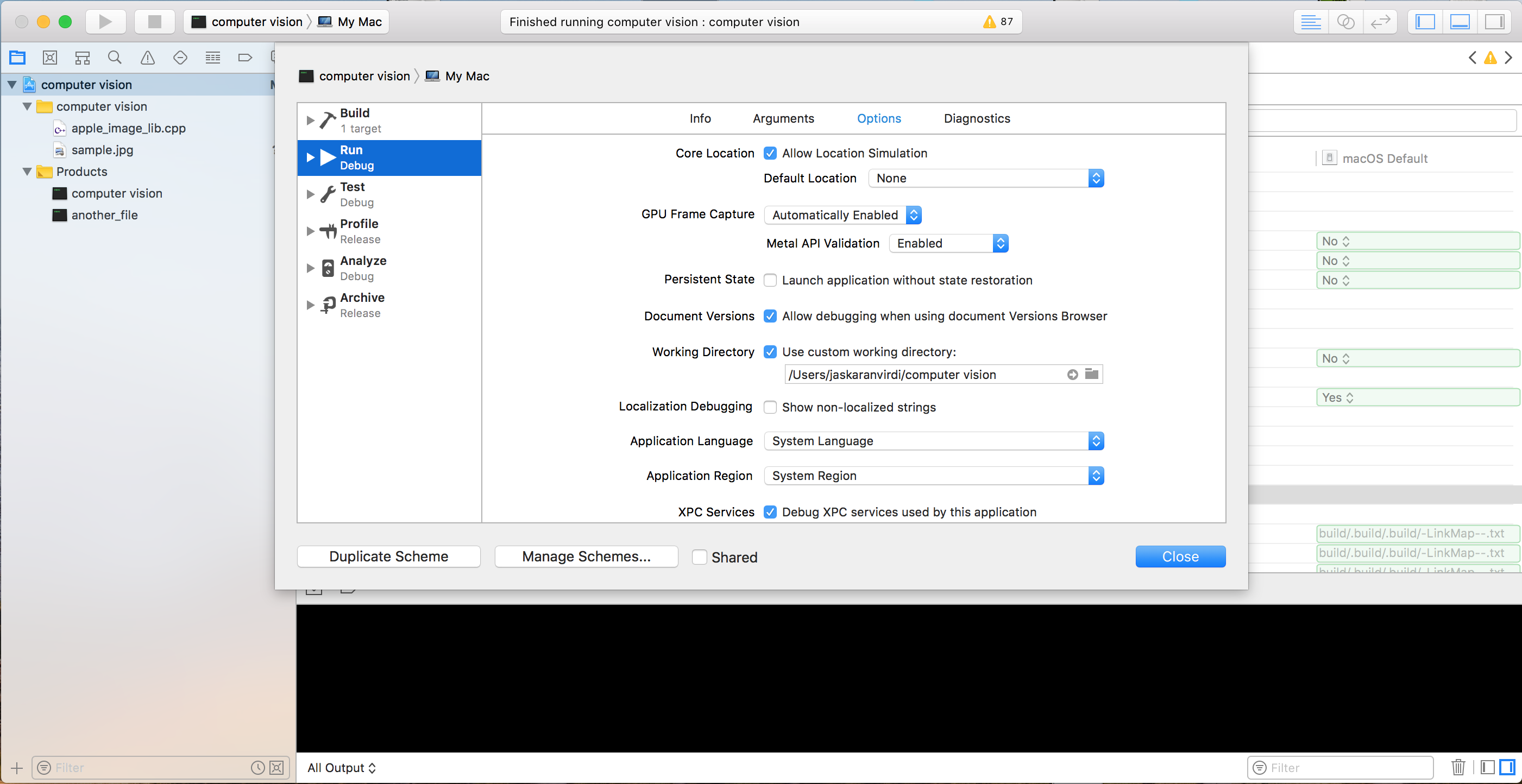 Setting up OpenCV and C++ development environment in Xcode