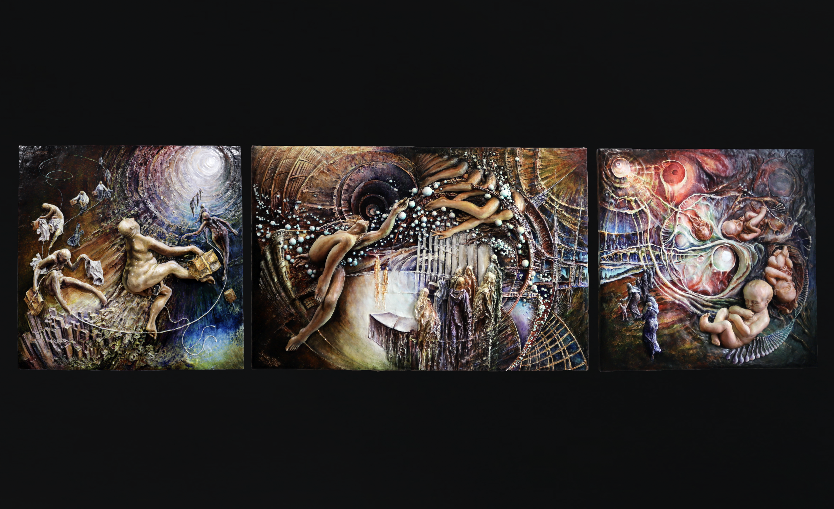 "The ""Life Between Lives"" (2019) triptych collection, made out of a plant fiber and acrylic composite and painted with oils."