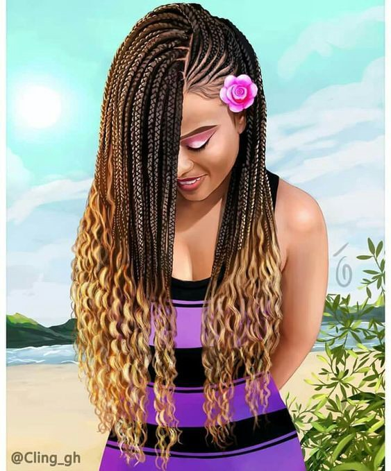 Cornrows In Front Box Braids In Back By Black Kitty Family Medium