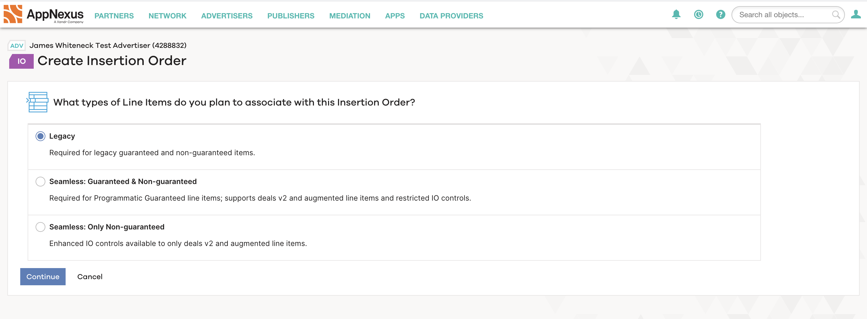 Screen for clients to choose between three types of insertion orders.