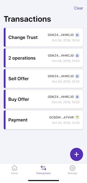 LOBSTR Vault screenshot — Transaction List