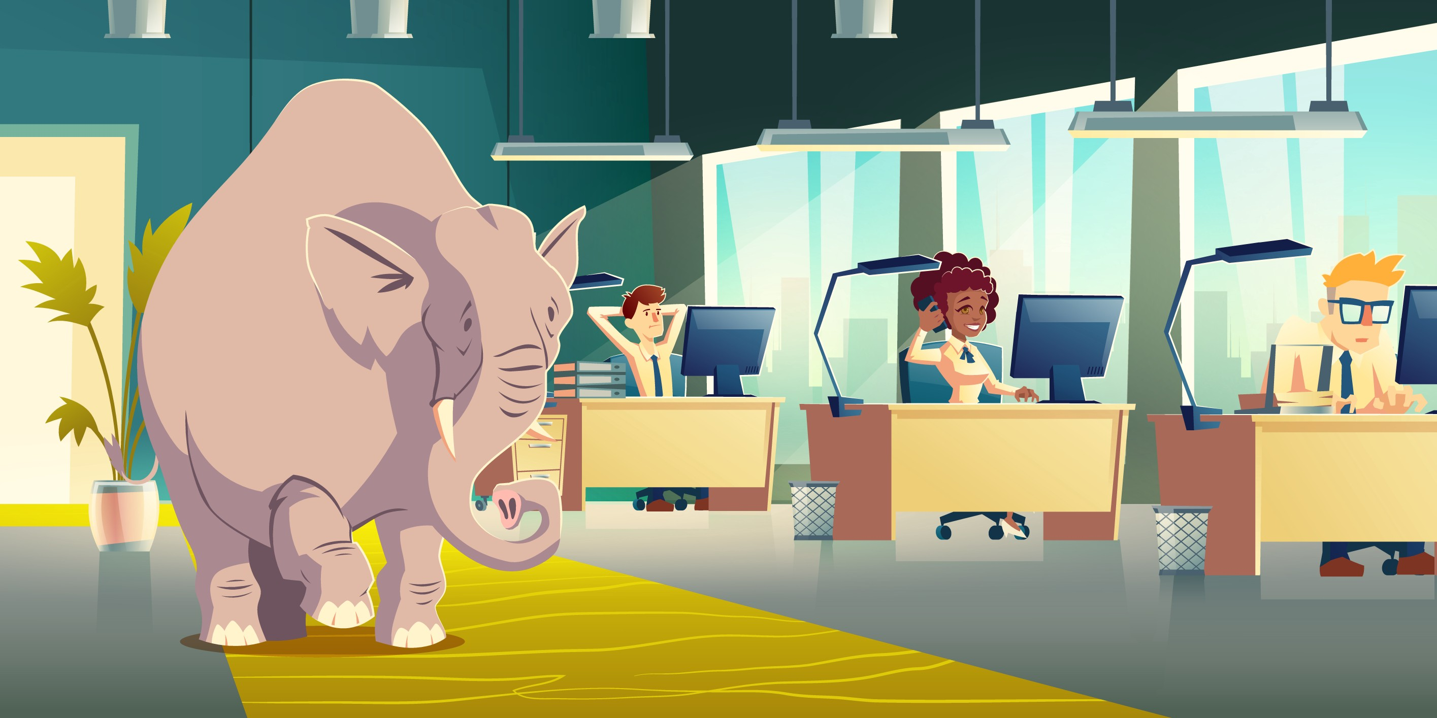 Everyone in the office is ignoring the elephant in the room.