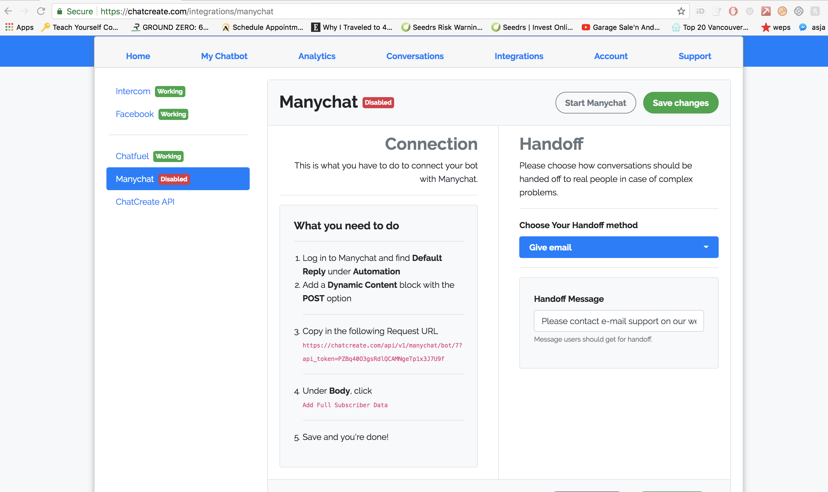 Integrating ManyChat with Dialogflow w/ Context Sharing (NLP