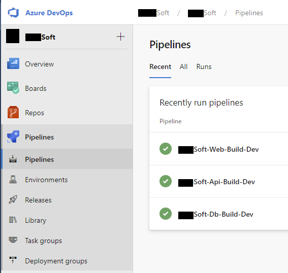 Database pipelines for db, api and web