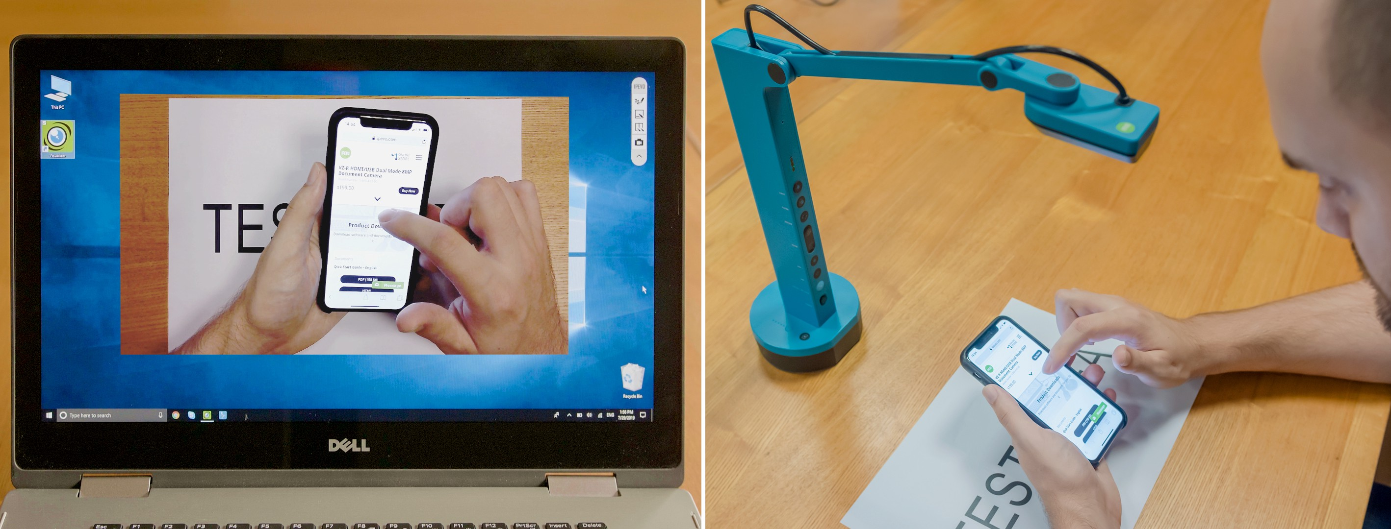 Using VZ-X to capture the hand gestures of the participant.