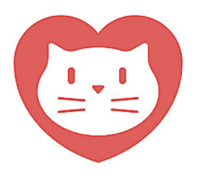 Red heart with a simplified white cat face in it.