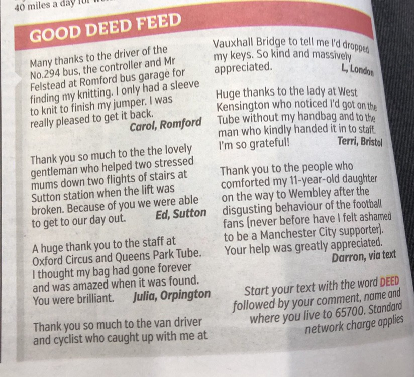 "A photograph of the ""Good Deed Feed"" column."