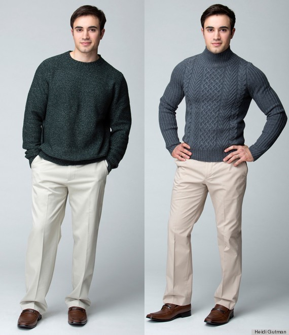 Comparison of fit: left has a dark green ill fitting shirt with light beige chinos and dark brown shoes.  Right has a cable knit grey turtleneck which is well fitting, with a slightly more saturated shade of chinos and the same dark brown shoes.
