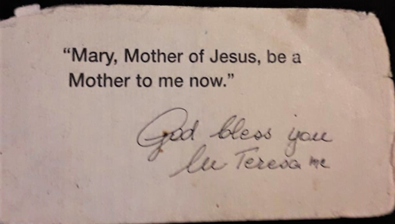 Copy of the prayer which Saint Mother Teresa personally signed and gave me during our meeting