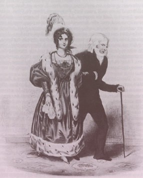 Drawing of Dorothea in a ball gown and fur-trimmed jacket on the arm of an older Talleyrand, walking with a cane.