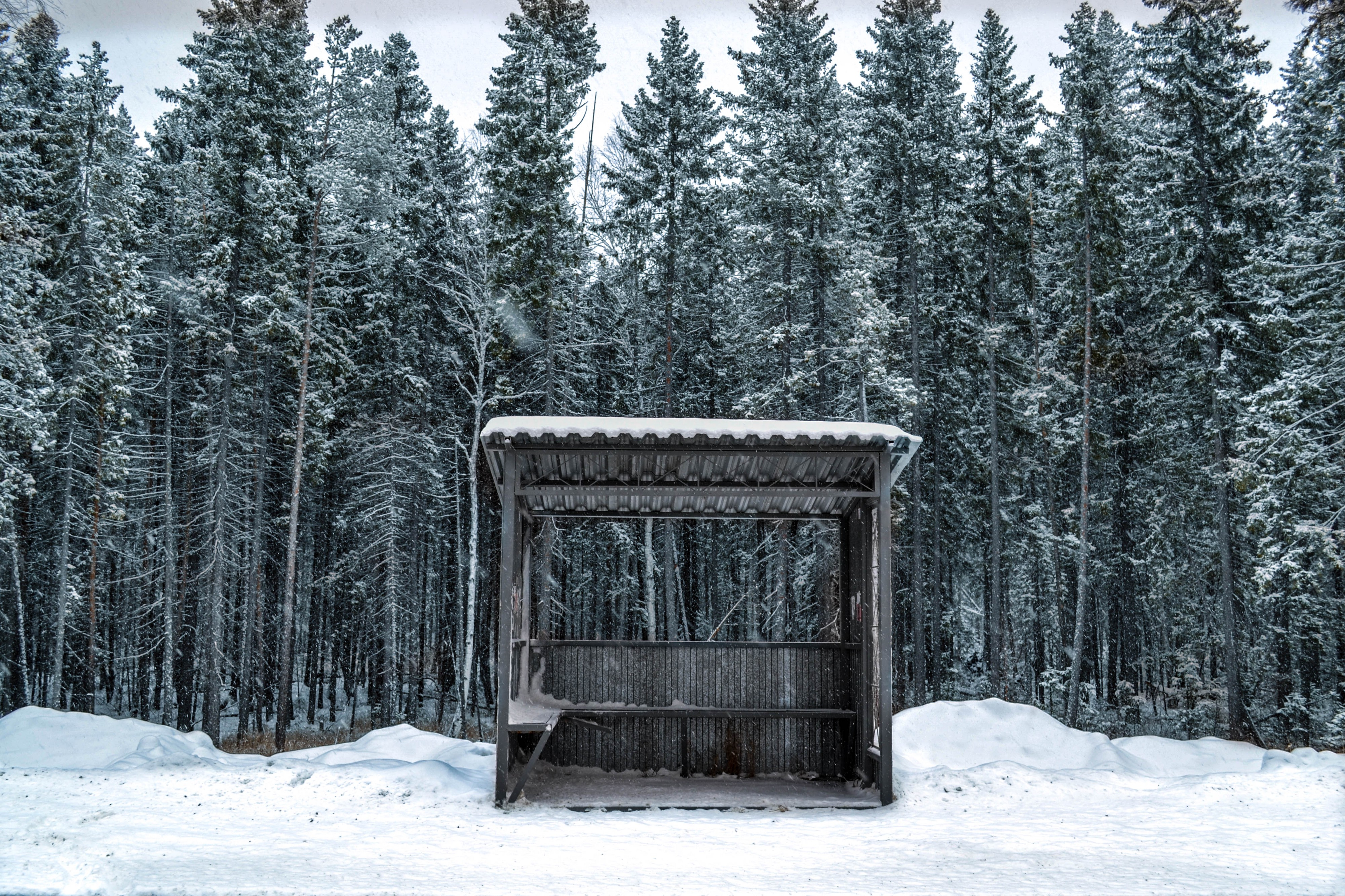 a bus stop covered in snow somewhere very very cold