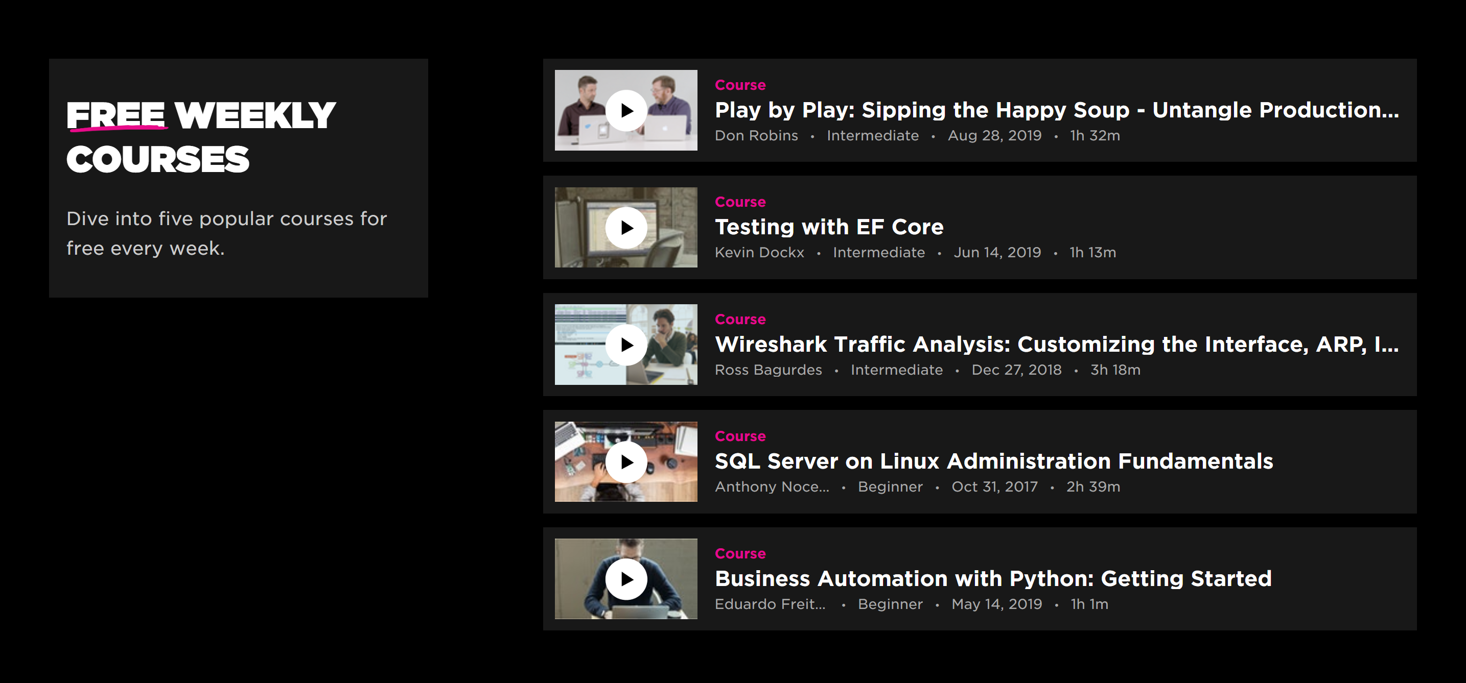 Pluralsight free weekly courses