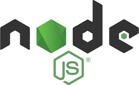 Node.js logo: word node in balck and green with a green hexagon with letters js inside.